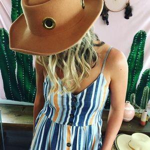 Beachy Sun dress Striped Button MIDI